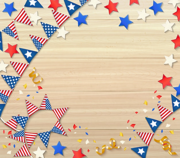 Independence day celebrating design composition with national flags confetti stars serpentine on wooden realistic Free Vector