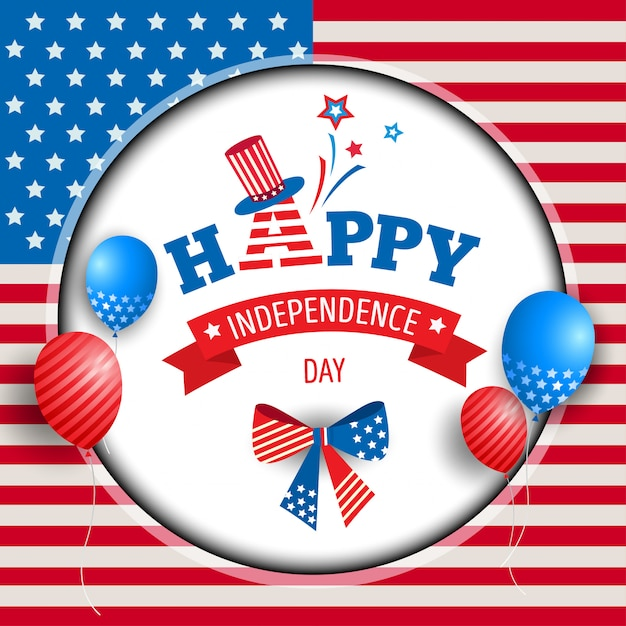 Independence day circle frame Premium Vector