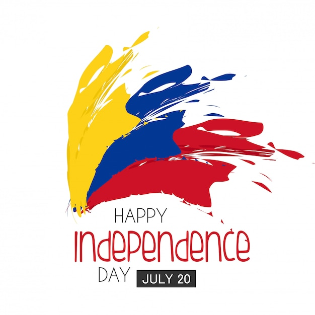 Independence day colombia. Premium Vector