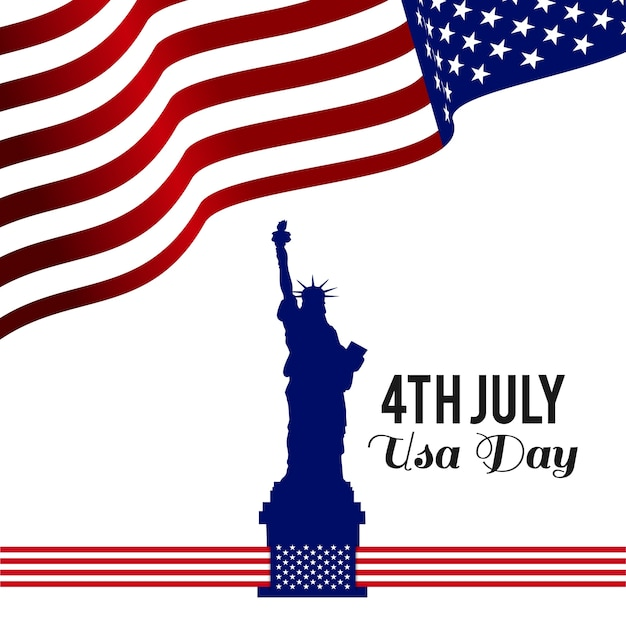 Independence day design with flag and statue of liberty Free Vector