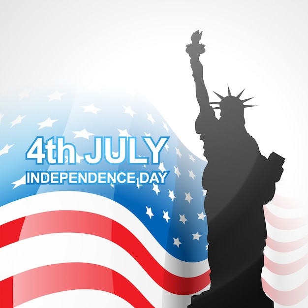 Independence day design with statue of liberty Free Vector