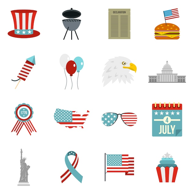 Independence day flag icons set in flat style Premium Vector