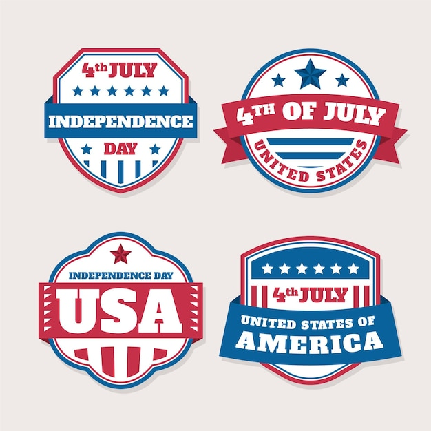 Independence day flat design badges Premium Vector