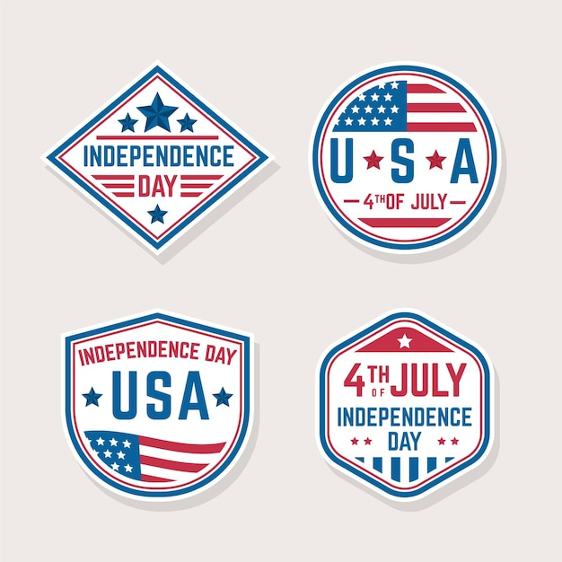 Independence day flat design labels Free Vector