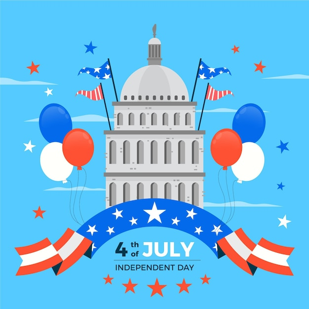 Independence day illustration design Free Vector