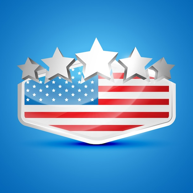 Independence day illustration with 5 stars Free Vector