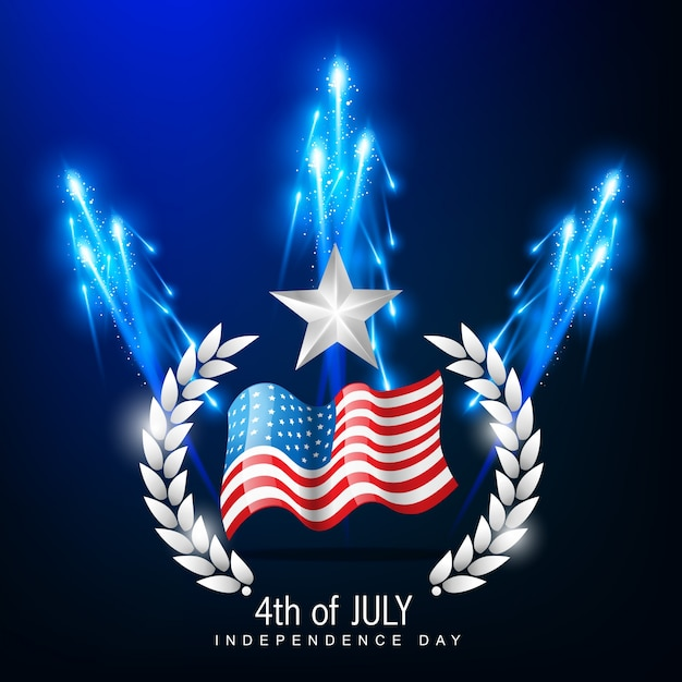 Independence day illustration with blue fireworks Free Vector