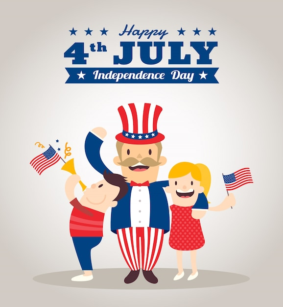 Independence day illustration with uncle sam cartoon Free Vector