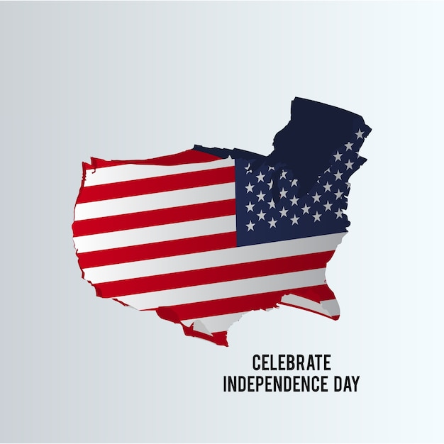 Independence day illustration with us map Vector Free Download