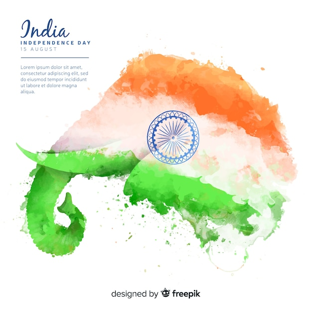 Independence day of india background watercolor style Free Vector