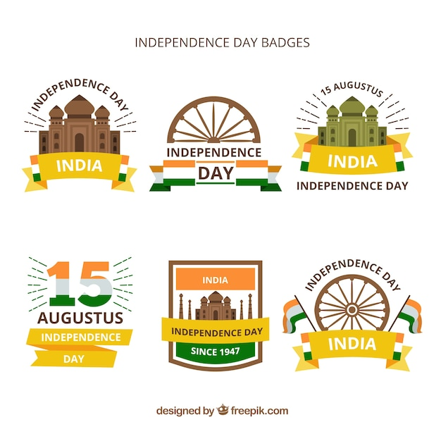 Independence day of india badge collection with flat design Free Vector