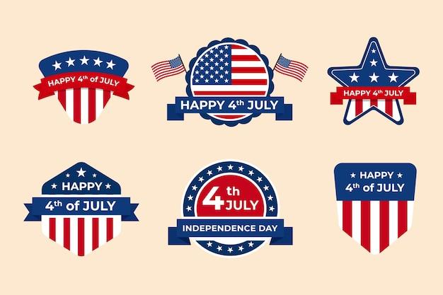 День независимости коллекция этикеток Бесплатные векторы