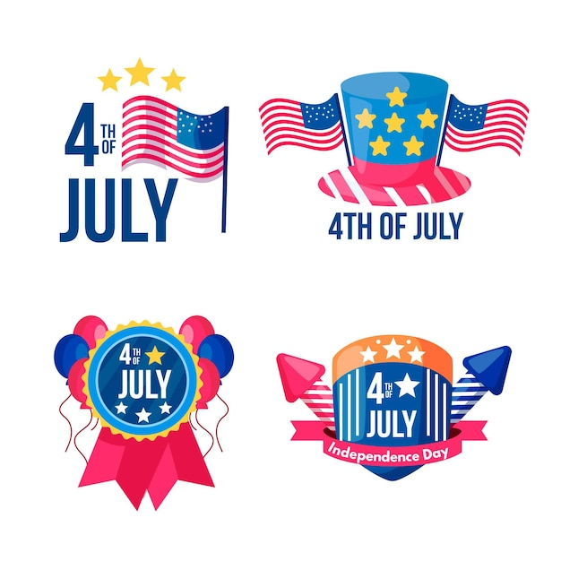 Independence day labels collection Free Vector