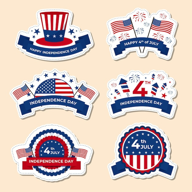 Independence day labels pack Free Vector