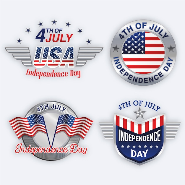 Independence day labels set Free Vector