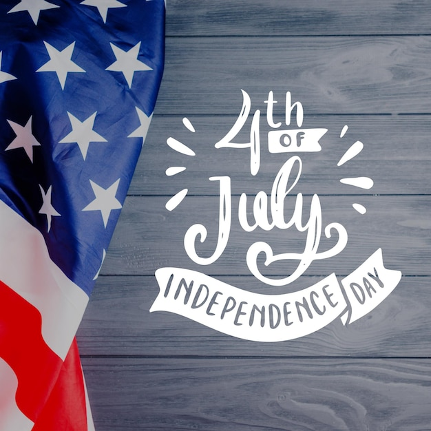 Independence day lettering with photo Free Vector