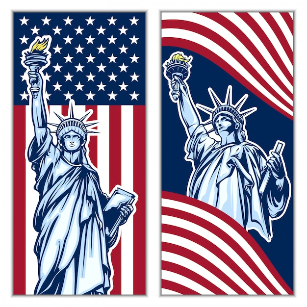 Independence day liberty statue background vector set Premium Vector