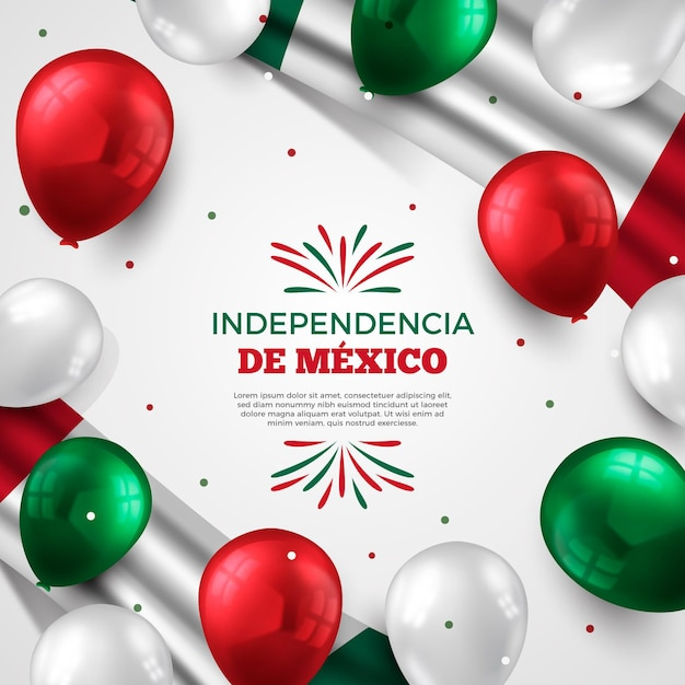 Independence day of mexico background with realistic balloons Free Vector