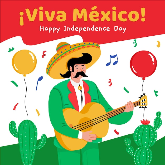 Independence day of mexico celebration Free Vector