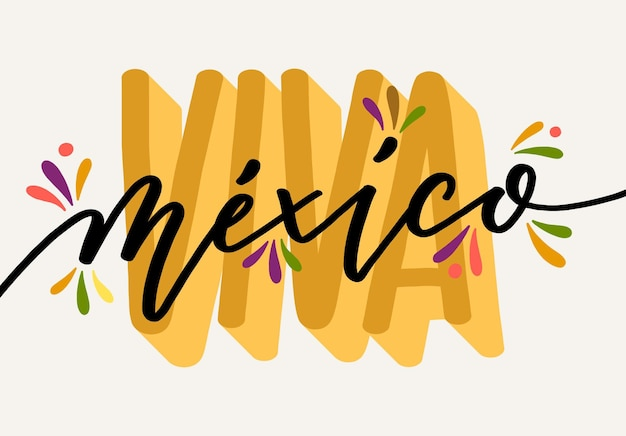 Independence day of mexico lettering Premium Vector