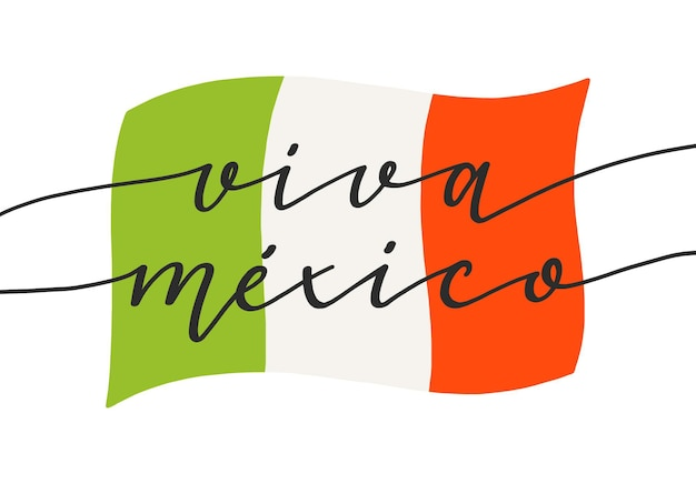 Independence day of mexico lettering Free Vector