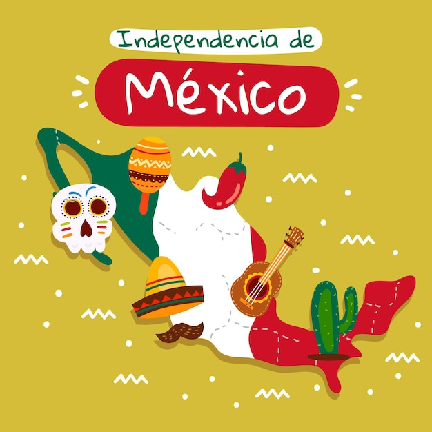 The independence day of mexico and traditional elements Free Vector