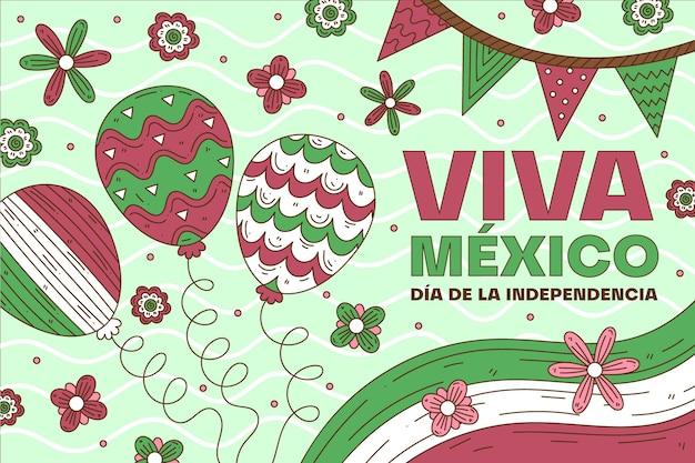 メキシコバルーン背景の独立記念日 無料ベクター