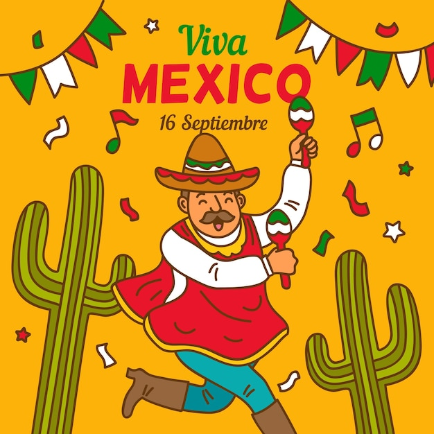 メキシコイラストの独立記念日 無料ベクター