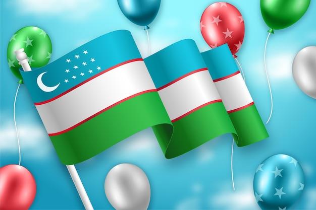 풍선과 함께 우즈베키스탄 독립 기념일 무료 벡터