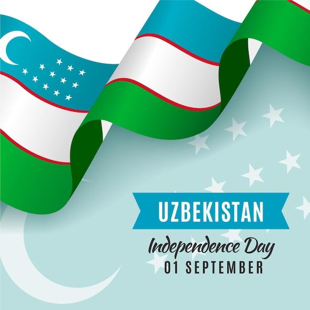 День независимости узбекистана с флагом Бесплатные векторы