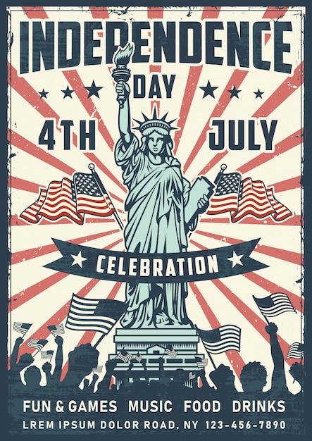 День независимости плакат с статуей Бесплатные векторы