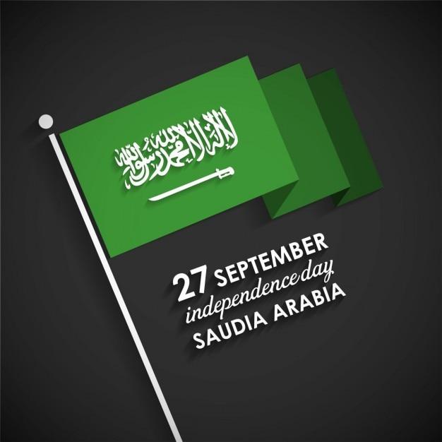 Independence day di arabia saudita con la bandierina Vettore gratuito