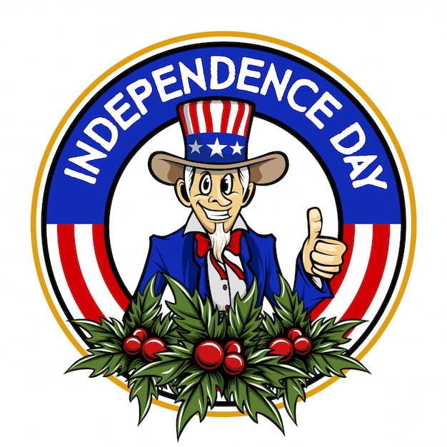 Independence day uncle sam cartoon vector logo Premium Vector
