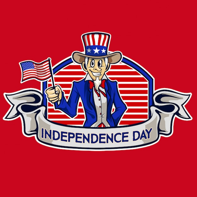 Independence day uncle sam cartoon vector Premium Vector