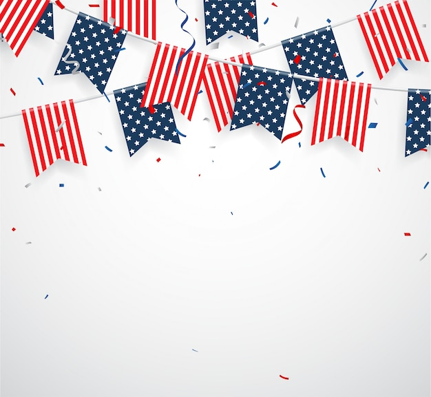 Independence day with american bunting flags Premium Vector