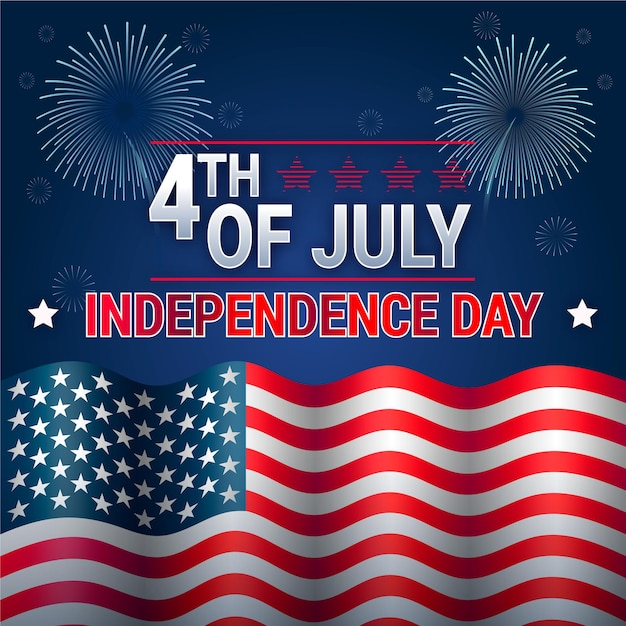Independence day with fireworks and flag Free Vector