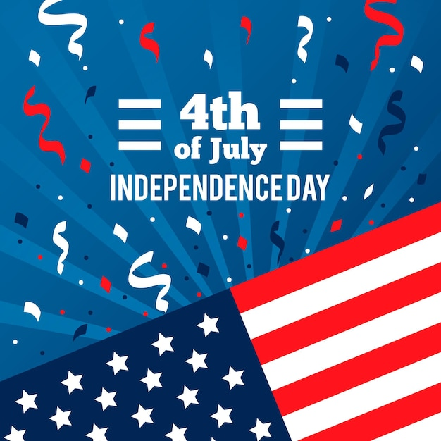 Independence day with flag and confetti Free Vector