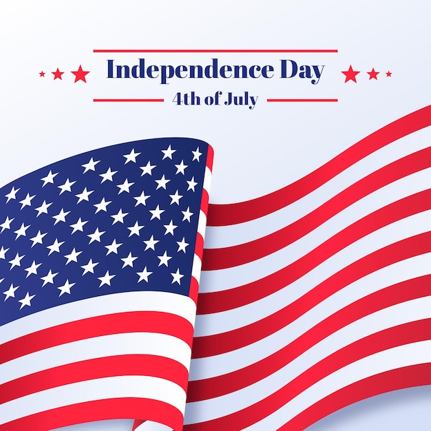 Independence day with flag and stars Free Vector