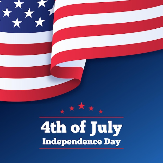 Independence day with flag Premium Vector