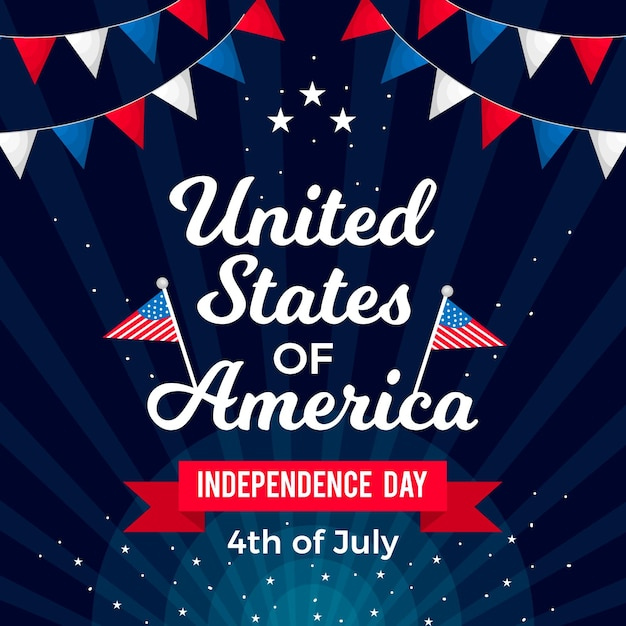 Independence day with flags and garlands Free Vector