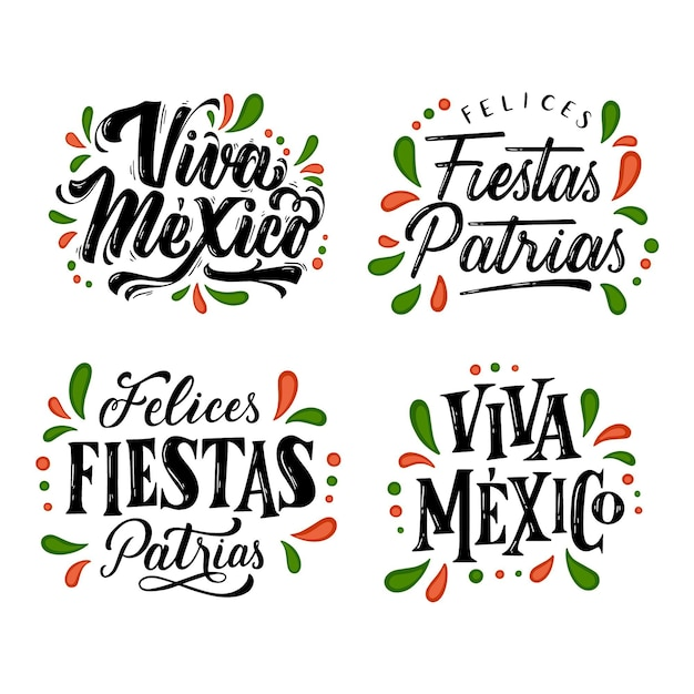 Independence of mexico lettering badges Free Vector
