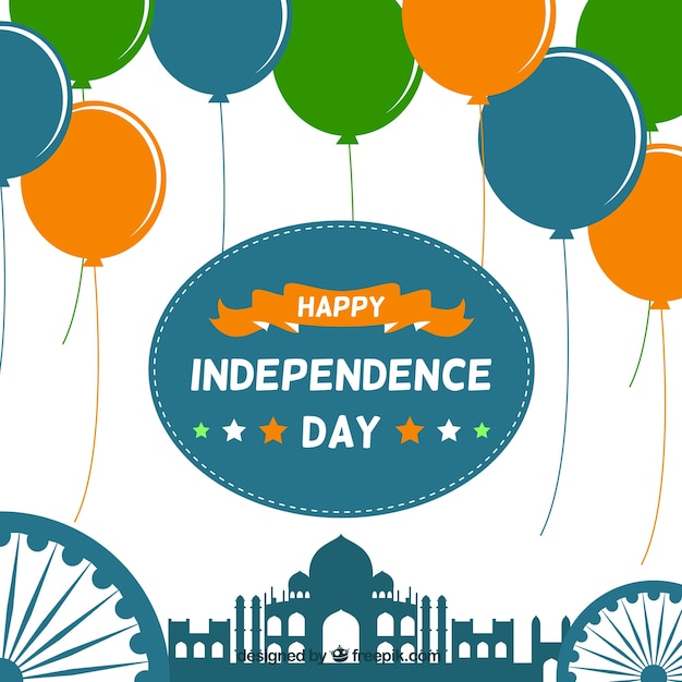 Independence, taj mahal and balloons