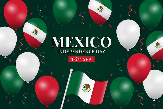 紙吹雪とメキシコ独立風船の背景 無料ベクター
