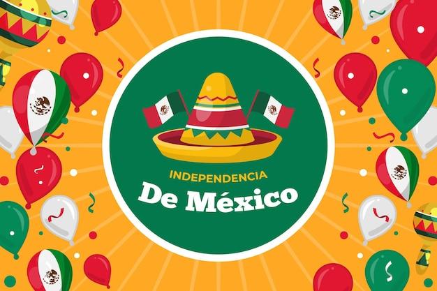 帽子と独立メキシコ風船の背景 無料ベクター
