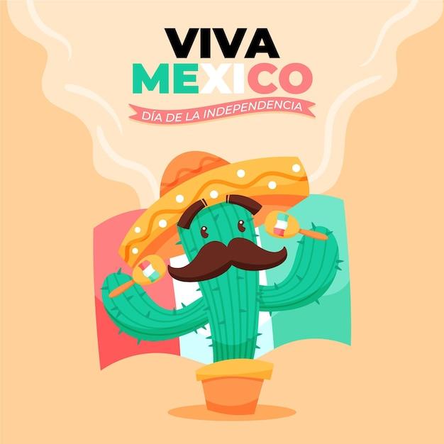 インデペンデンシアデメキシコ手描きの背景にサボテン 無料ベクター