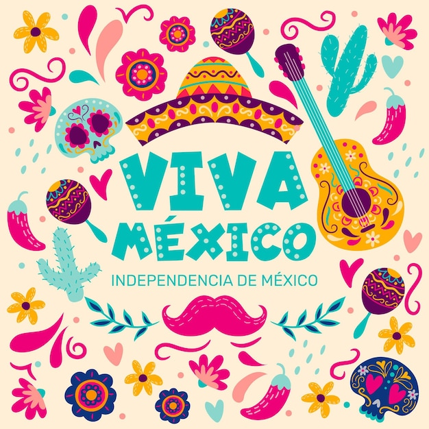 Independencia de méxico hand drawn background with musical instruments Free Vector