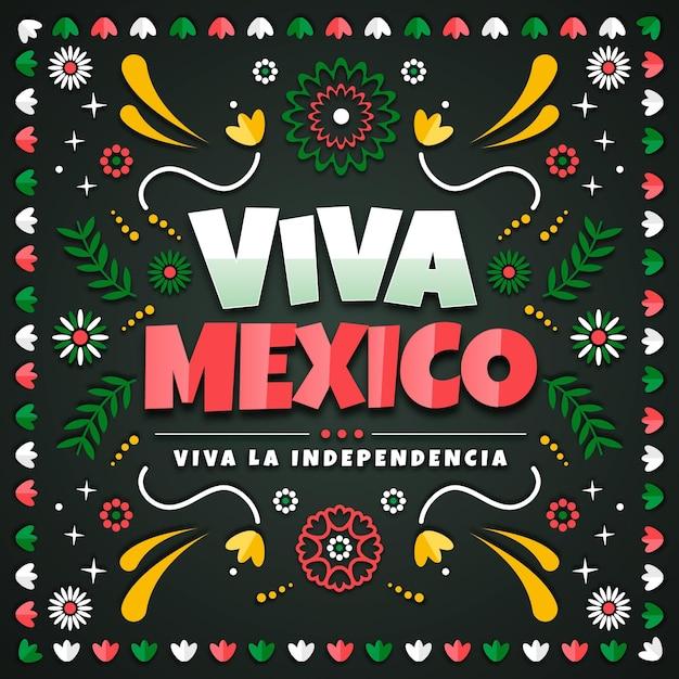 Independencia de méxico in paper style background Premium Vector