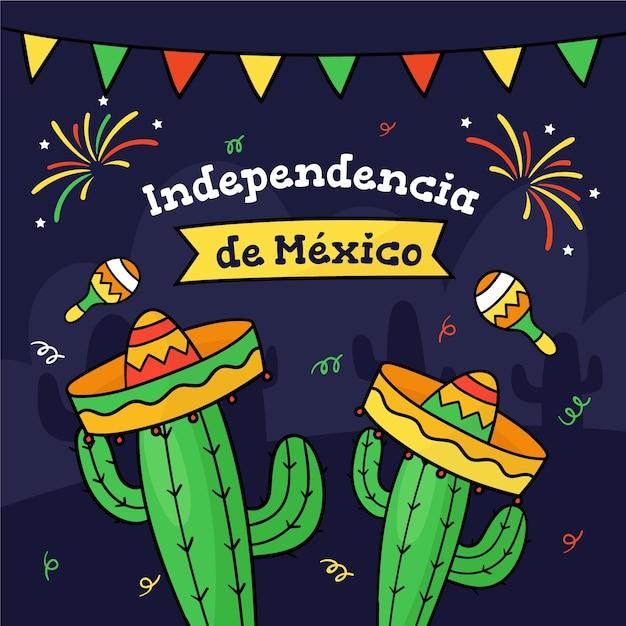 サボテンと帽子のメキシコ独立 無料ベクター