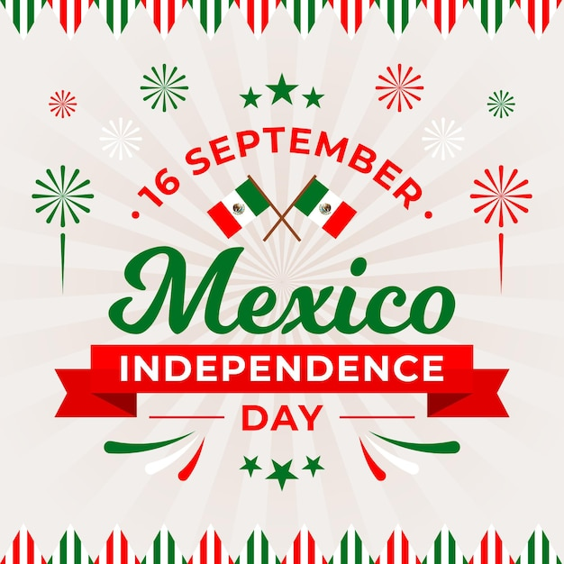 Independencia de méxico with flags and fireworks Free Vector