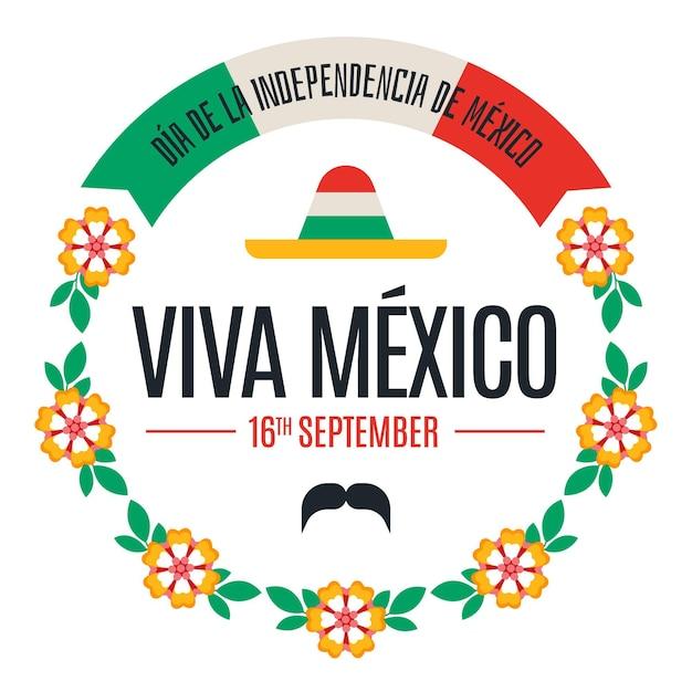 花を持つ独立メキシコ 無料ベクター